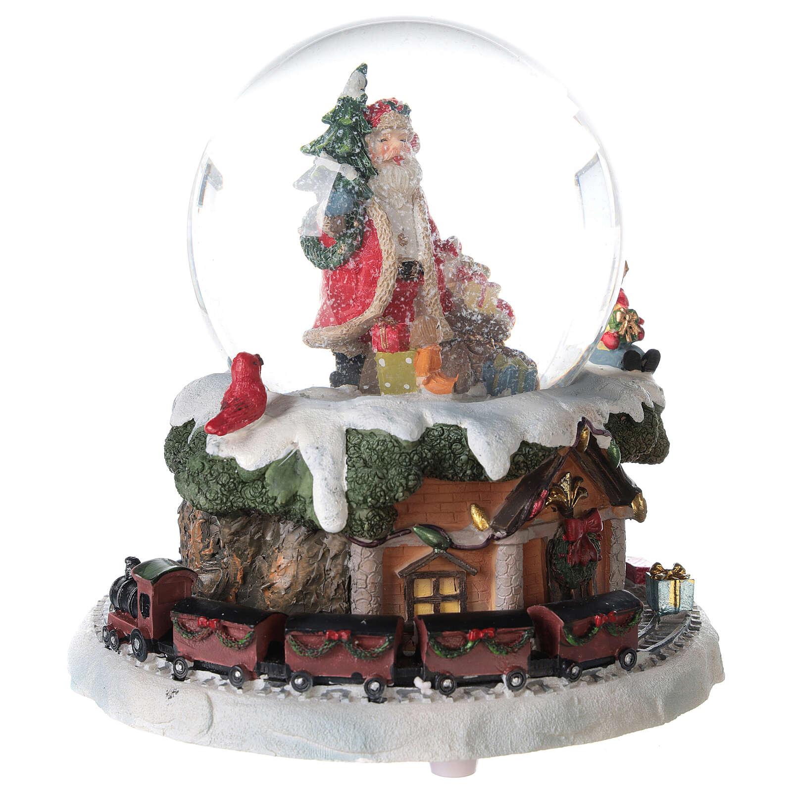 Santa Claus snow globe train music 15x15x15 cm 3