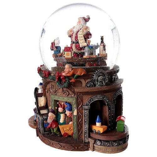 Snow globe santa's workshop music 25x25x15 cm 3