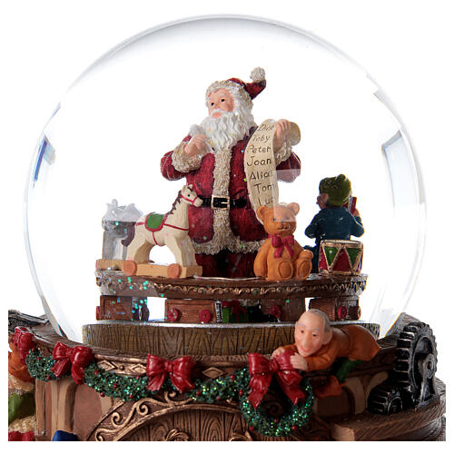 Snow globe santa's workshop music 25x25x15 cm 4