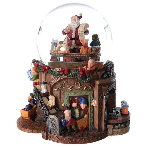Snow globe santa's workshop music 25x25x15 cm 1