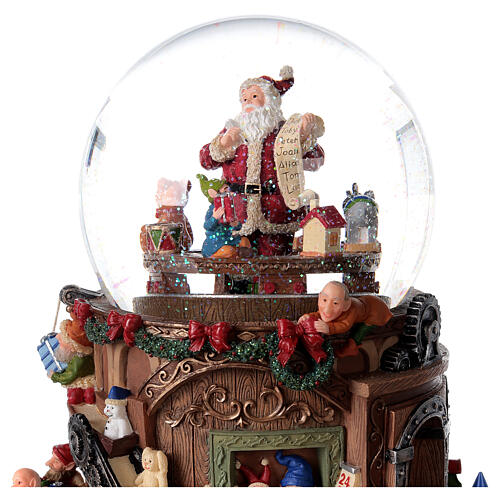 Snow globe santa's workshop music 25x25x15 cm 2