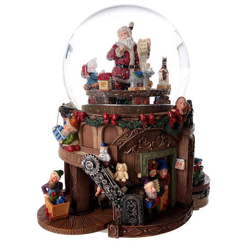 Snow globe santa's workshop music 25x25x15 cm 5