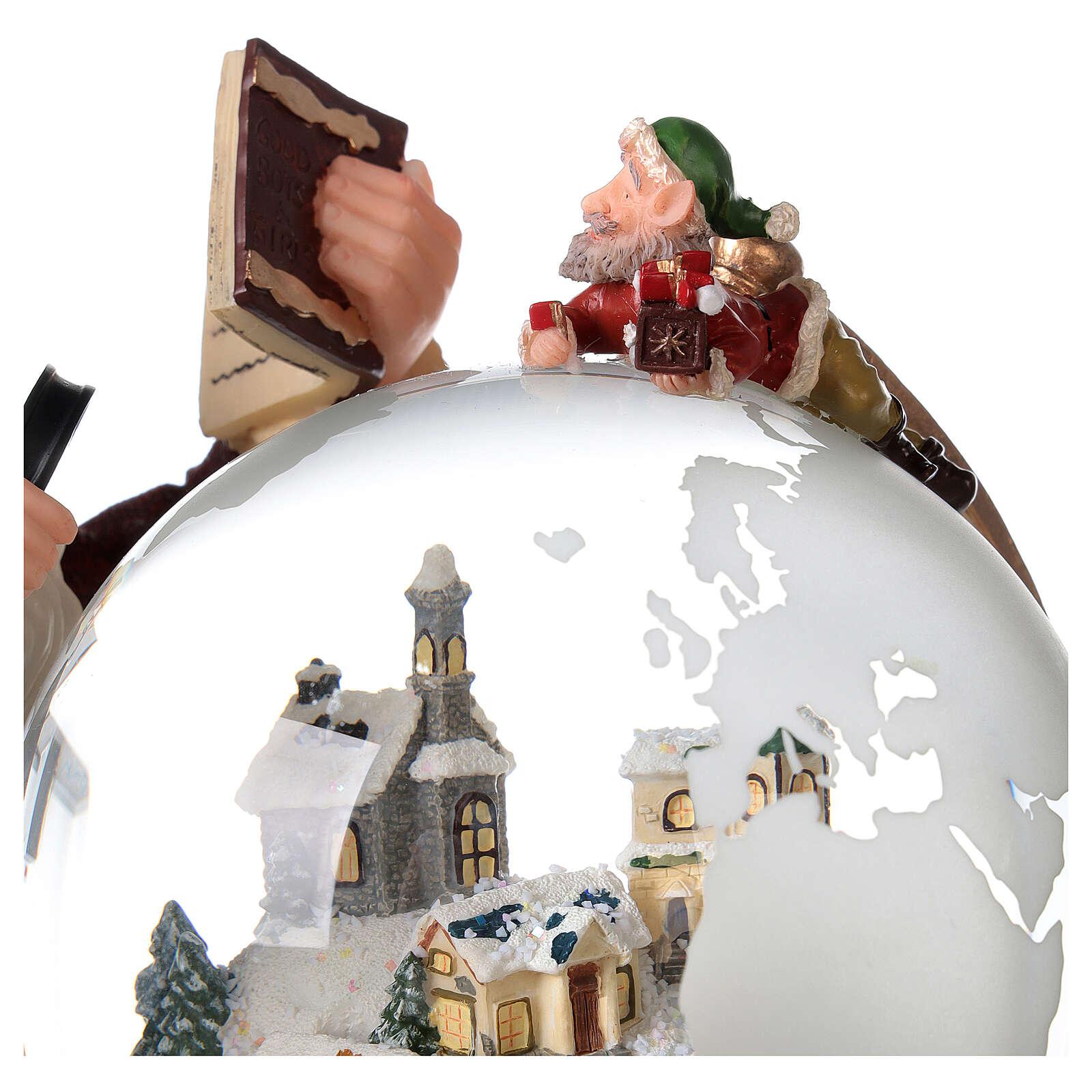 Boîte à musique et boule à neige Père Noël mappemonde 25x25x20 cm 3