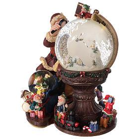 Boîte à musique et boule à neige Père Noël mappemonde 25x25x20 cm s3