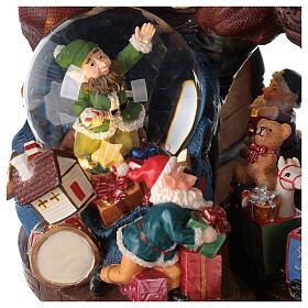 Boîte à musique et boule à neige Père Noël mappemonde 25x25x20 cm s4