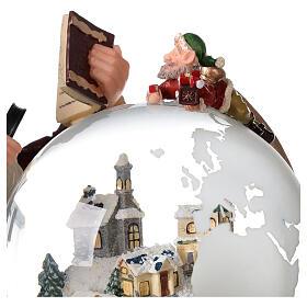 Boîte à musique et boule à neige Père Noël mappemonde 25x25x20 cm s7