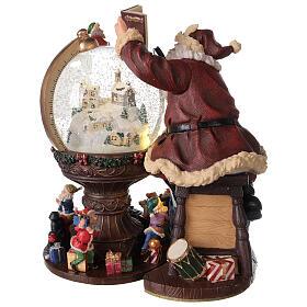 Boîte à musique et boule à neige Père Noël mappemonde 25x25x20 cm s8