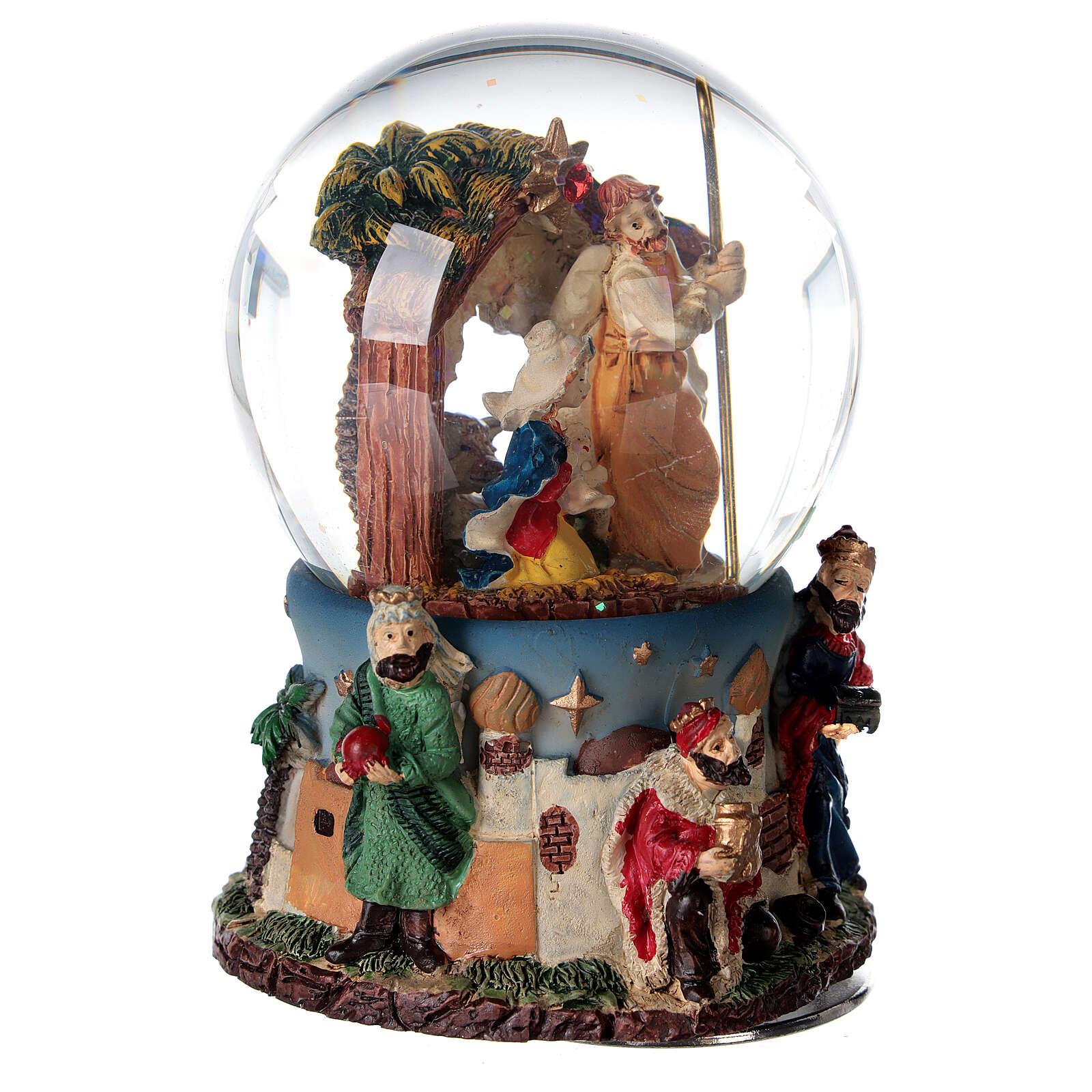 Snow globe Nativity Magi music 80 mm 3