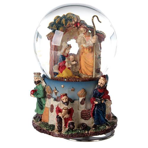 Snow globe Nativity Magi music 80 mm 1