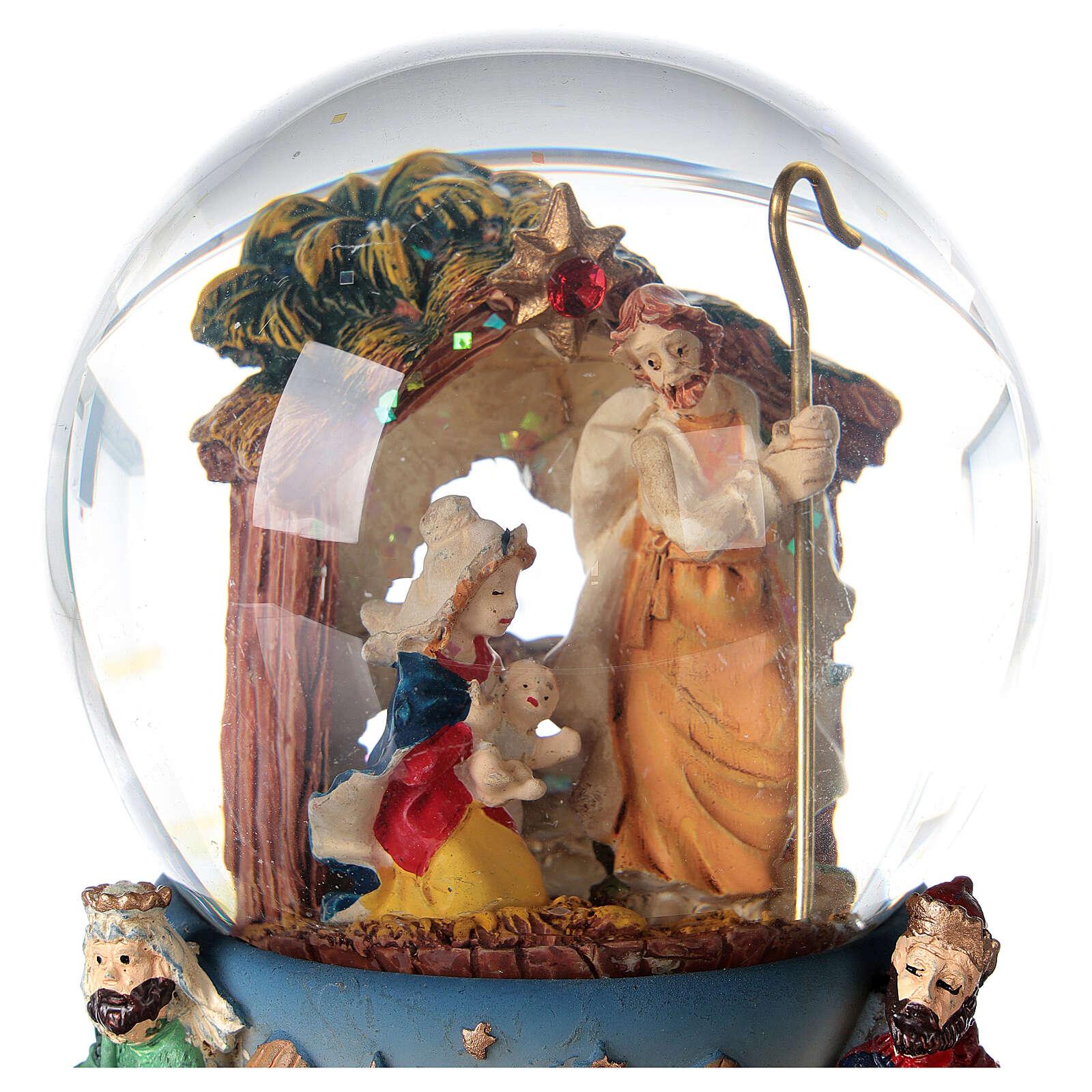 Bola de nieve Natividad Reyes Magos carillón Navidad 80 mm 3