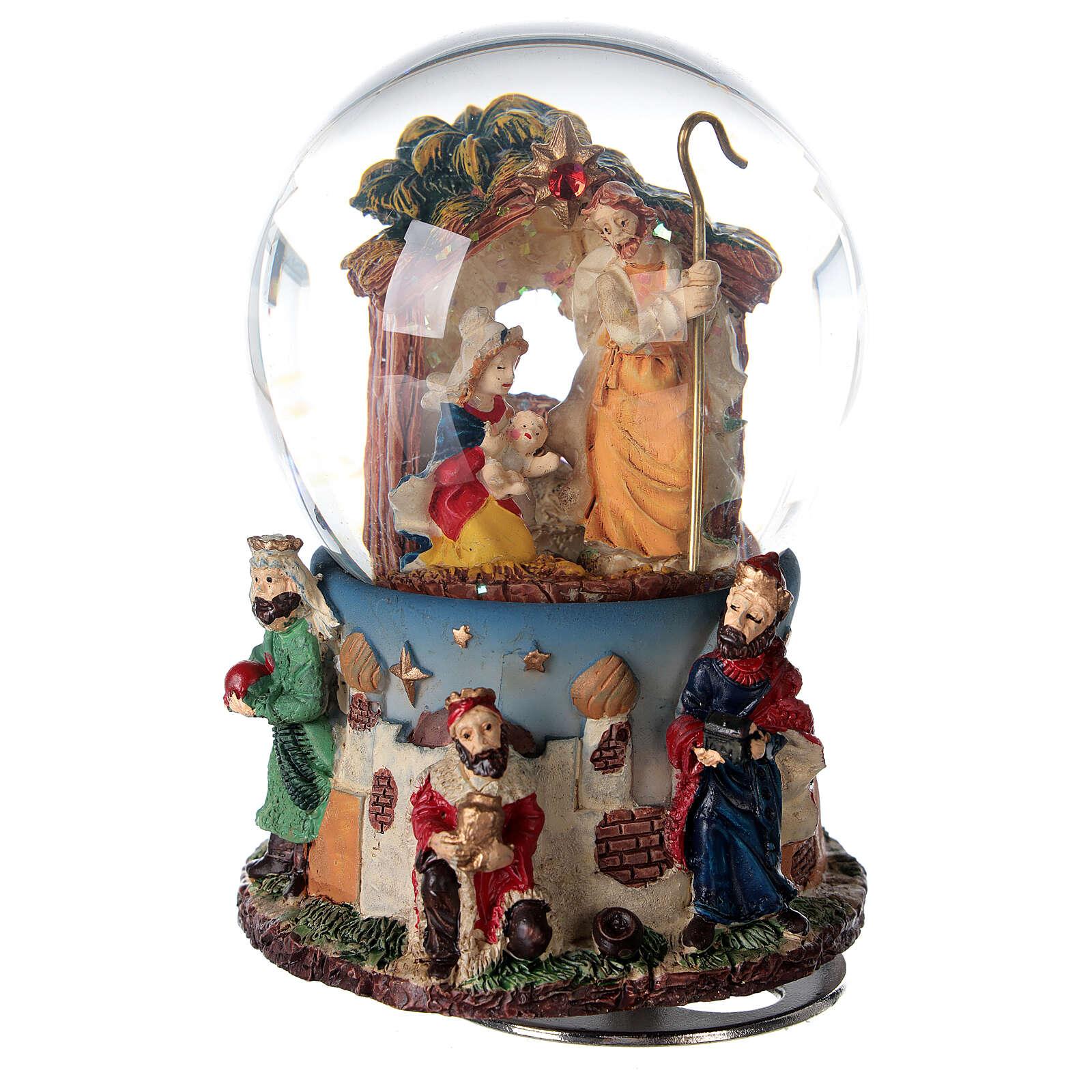 Boule à neige Nativité Rois Mages boîte musicale Noël 80 mm 3