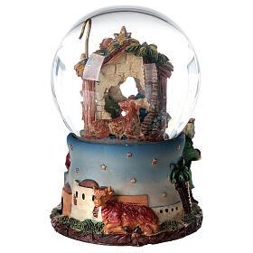 Boule à neige Nativité Rois Mages boîte musicale Noël 80 mm s7