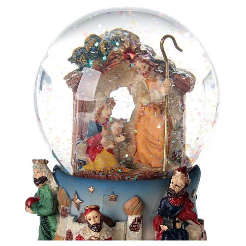 Boule à neige Nativité Rois Mages boîte musicale Noël 80 mm 2