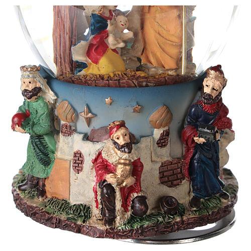 Boule à neige Nativité Rois Mages boîte musicale Noël 80 mm 6