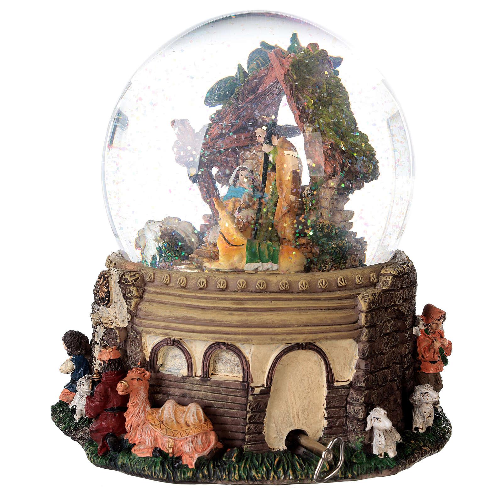 Boule à neige paillettes Nativité crèche boîte musicale 20x20x20 cm 3