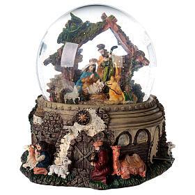 Boule à neige paillettes Nativité crèche boîte musicale 20x20x20 cm s1