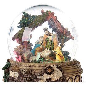 Boule à neige paillettes Nativité crèche boîte musicale 20x20x20 cm s2