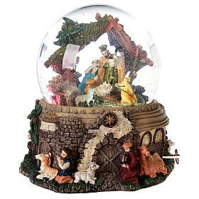 Boule à neige paillettes Nativité crèche boîte musicale 20x20x20 cm s5