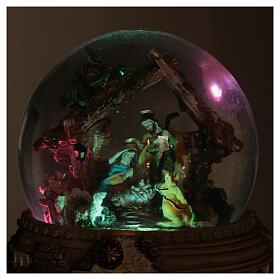 Boule à neige paillettes Nativité crèche boîte musicale 20x20x20 cm s6