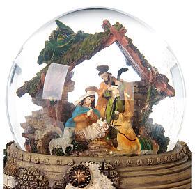 Boule à neige paillettes Nativité crèche boîte musicale 20x20x20 cm s7