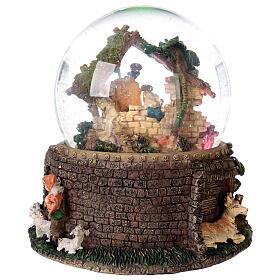 Boule à neige paillettes Nativité crèche boîte musicale 20x20x20 cm s8