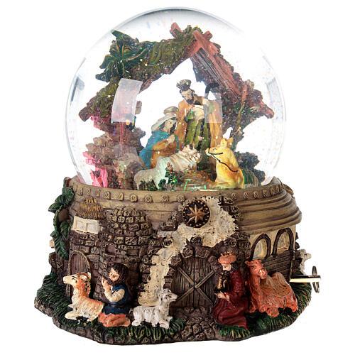 Boule à neige paillettes Nativité crèche boîte musicale 20x20x20 cm 5