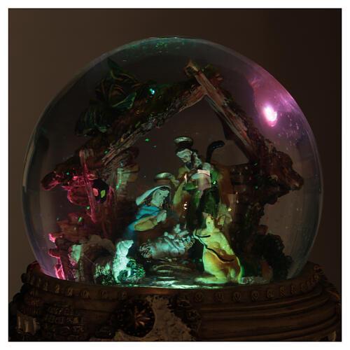 Boule à neige paillettes Nativité crèche boîte musicale 20x20x20 cm 6