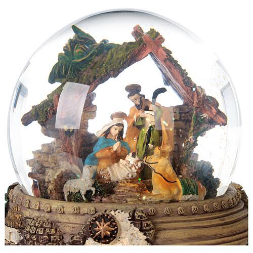 Boule à neige paillettes Nativité crèche boîte musicale 20x20x20 cm 7