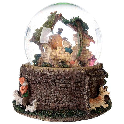 Boule à neige paillettes Nativité crèche boîte musicale 20x20x20 cm 8