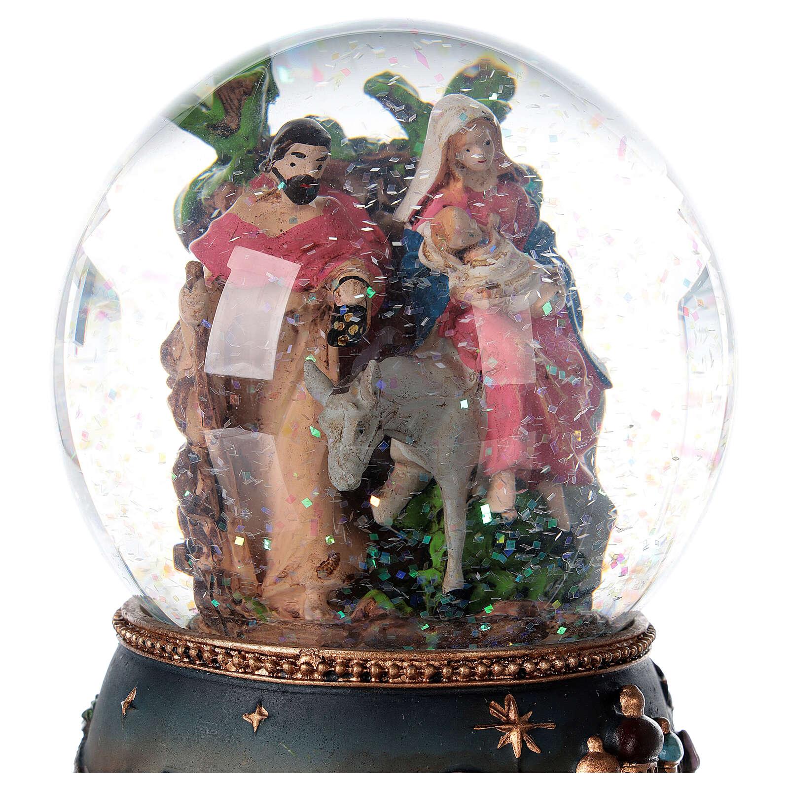 Palla di vetro neve Fuga Egitto carillon 15x10x10 cm 3