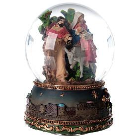 Palla di vetro neve Fuga Egitto carillon 15x10x10 cm s5