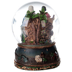 Palla di vetro neve Fuga Egitto carillon 15x10x10 cm s7