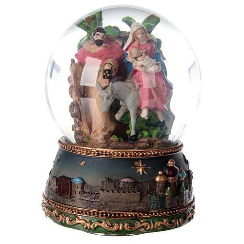 Palla di vetro neve Fuga Egitto carillon 15x10x10 cm 1