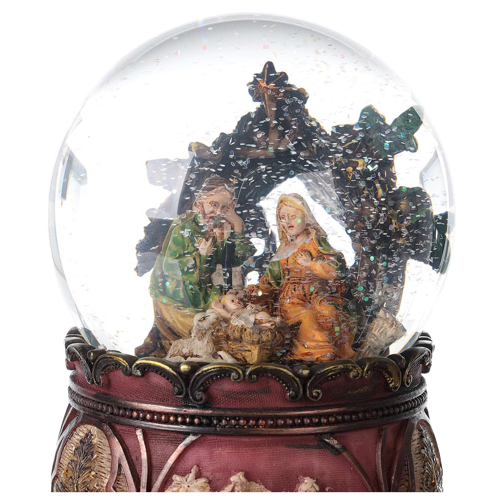 Globo vetro neve glitter Natività carillon 15x10x10 cm 3