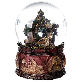 Globo vetro neve glitter Natività carillon 15x10x10 cm s7