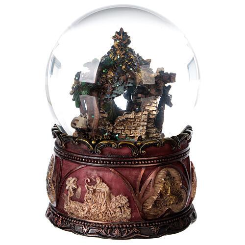 Globo vetro neve glitter Natività carillon 15x10x10 cm 7