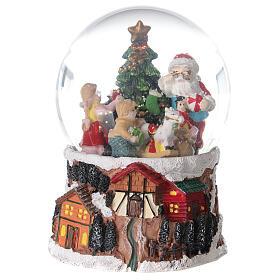 Szklana kula z wirującym śniegiem pozytywka Święty Mikołaj 15x10x10 cm s1