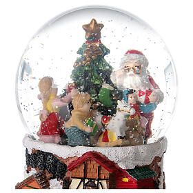 Szklana kula z wirującym śniegiem pozytywka Święty Mikołaj 15x10x10 cm s2