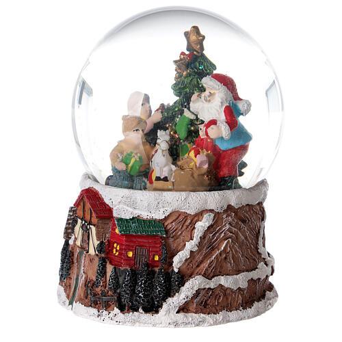 Szklana kula z wirującym śniegiem pozytywka Święty Mikołaj 15x10x10 cm 3