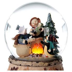 Glitter snow globe snowman fire music 15x10x10 cm s4