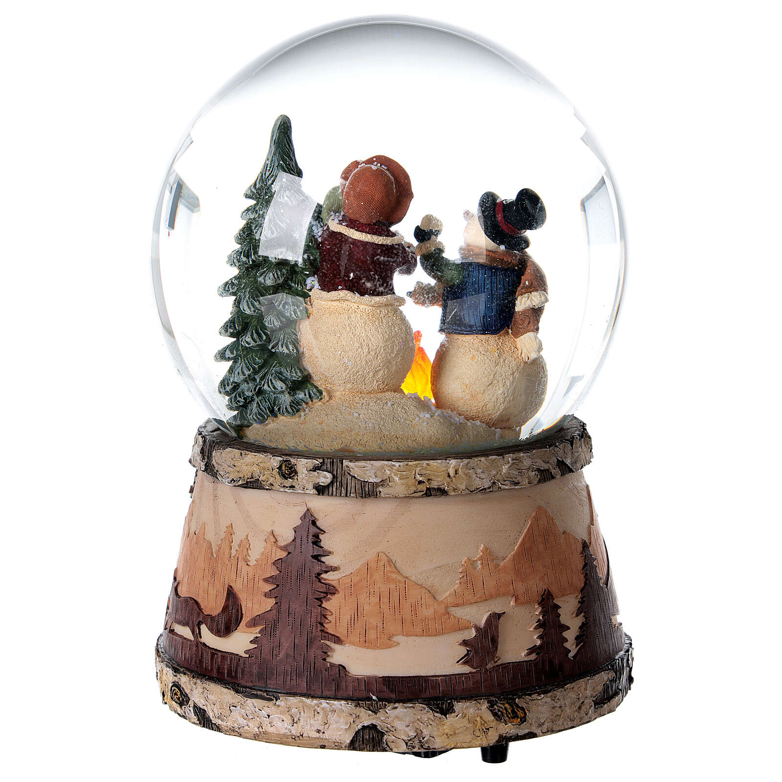 Boule à neige paillettes bonhomme de neige feu boîte musicale 15x10x10 cm 3