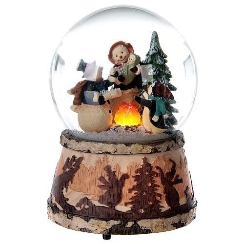 Sfera vetro neve glitter pupazzo falò carillon 15x10x10 cm 1