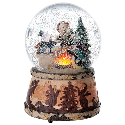 Sfera vetro neve glitter pupazzo falò carillon 15x10x10 cm 2