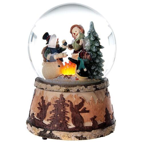 Sfera vetro neve glitter pupazzo falò carillon 15x10x10 cm 3
