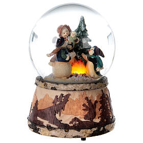 Glitter snow globe snowman fire music 15x10x10 cm s5