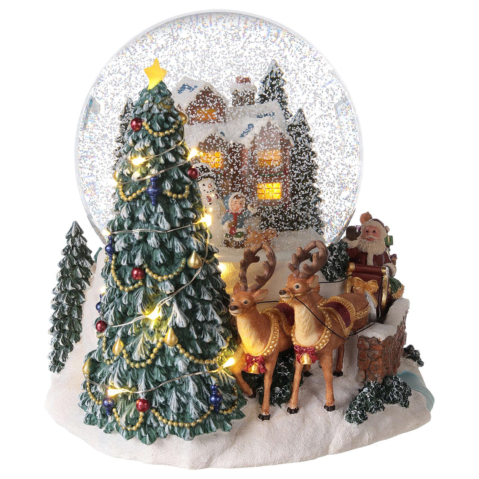 Boule à neige traîneau Père Noël boîte musicale lumière 20x20x20 cm 3