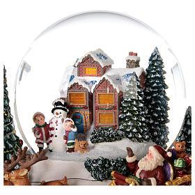 Boule à neige traîneau Père Noël boîte musicale lumière 20x20x20 cm s6