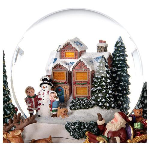 Boule à neige traîneau Père Noël boîte musicale lumière 20x20x20 cm 6