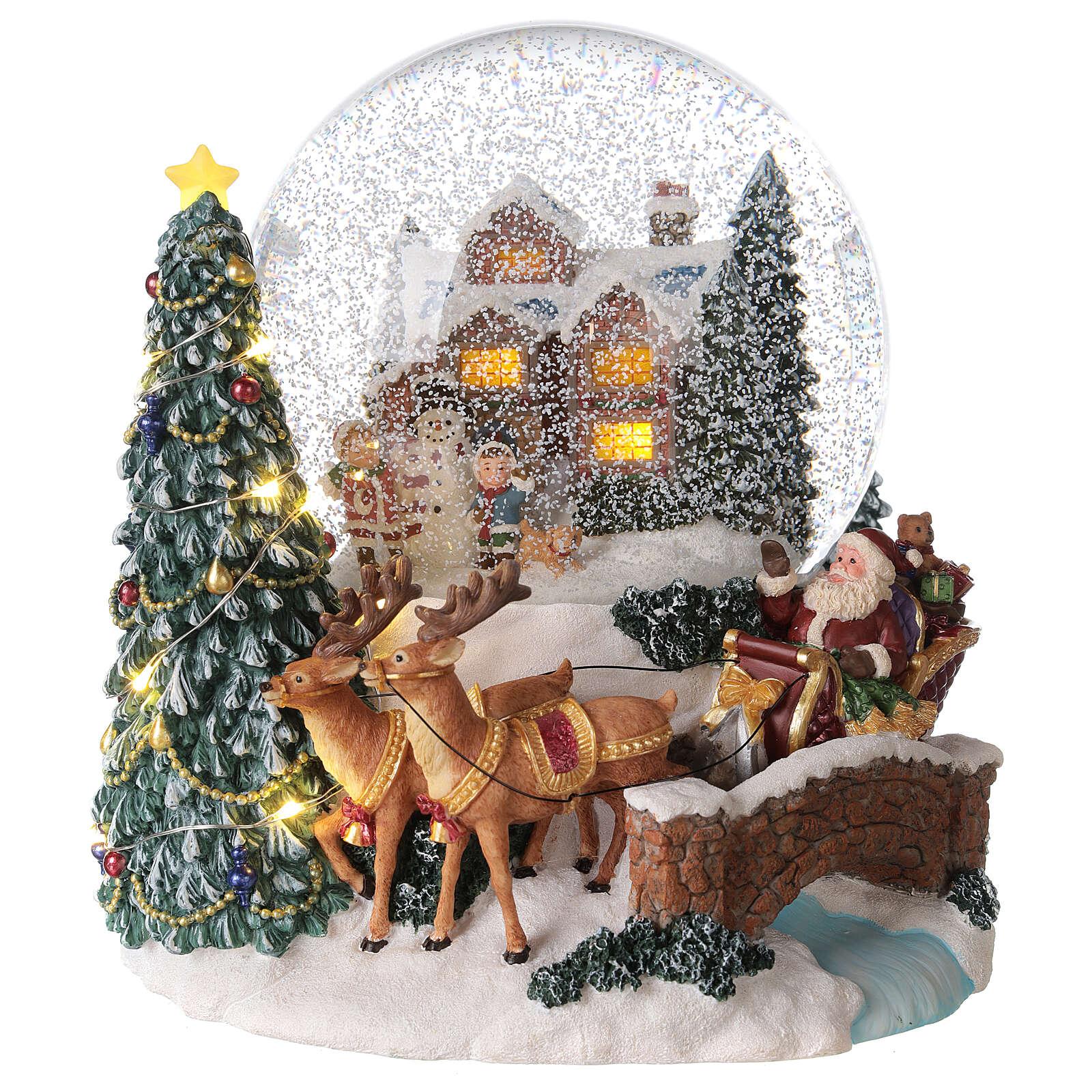 Palla di vetro neve slitta Babbo Natale carillon luci 20x20x20 cm 3