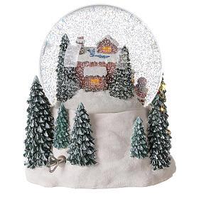 Palla di vetro neve slitta Babbo Natale carillon luci 20x20x20 cm s7